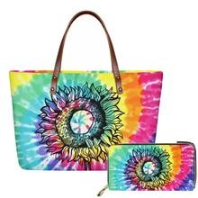 HYCOOL Colorful Sunflower Tie Dye Printed Women Shoulder Bags Luxury Brand Handbags Large Ladies Top