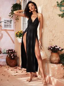 Backless Wrap Hem Halter Dress