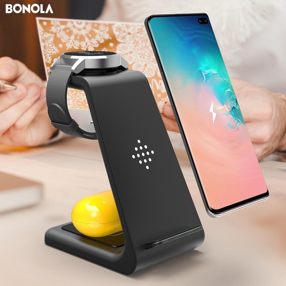 Bonola-محطة شحن لاسلكية 3 في 1 لساعة Samsung Galaxy Watch/Buds/S10/S9 شاحن لاسلكي سريع Qi لهاتف Samsung Note10/Note9/S8