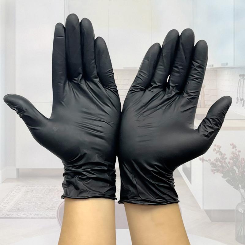 50PCS Black Gloves Disposable Latex Free Powder-Free Exam Glove Size Small Medium Large X-Large Nitrile Vinyl Synthetic Hand
