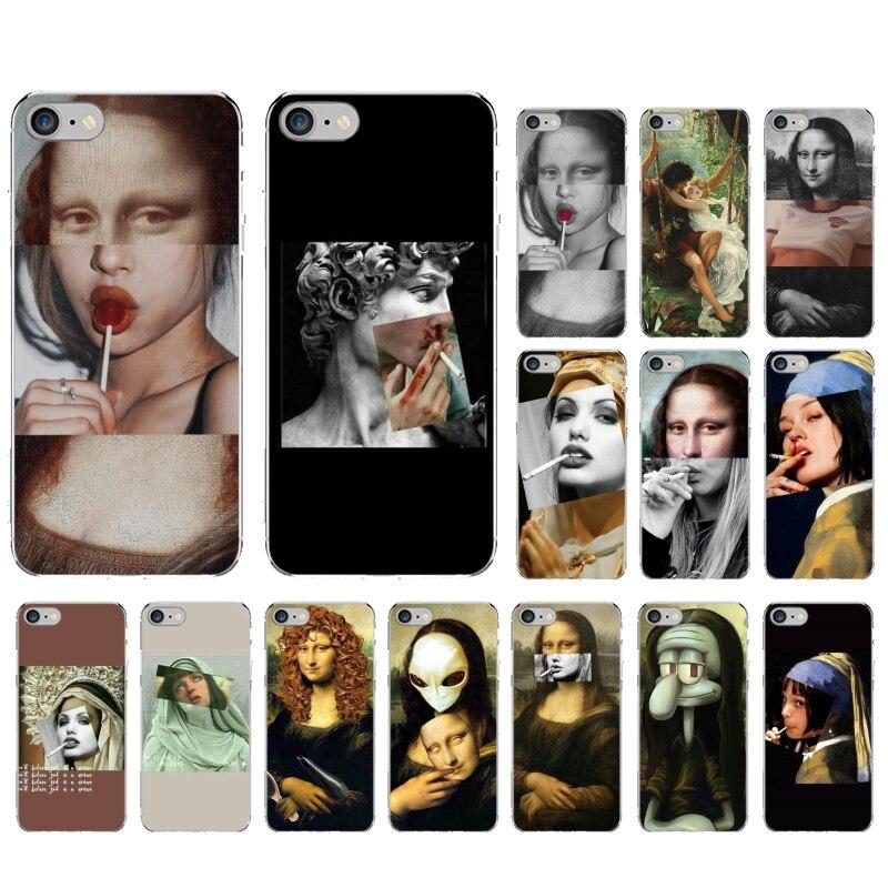Mona Lisa teléfono caso arte pintura patrón impresión suave TPU para iphone 11 pro max X XR XS MAX 8 7 6 5 6S 5S PLUS SE MonaLisa chicle humo