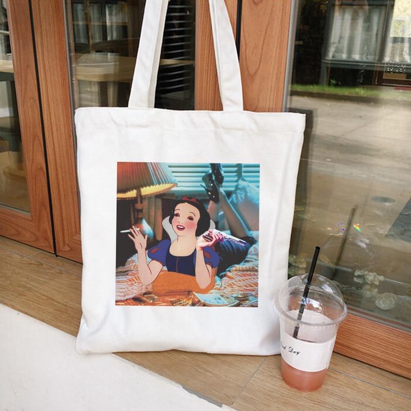 Divertido de moda Snow White Fun Ins Retro femenino Harajuku lona Colegio mochila bolso calle Casual hombro lona bolsos cartera