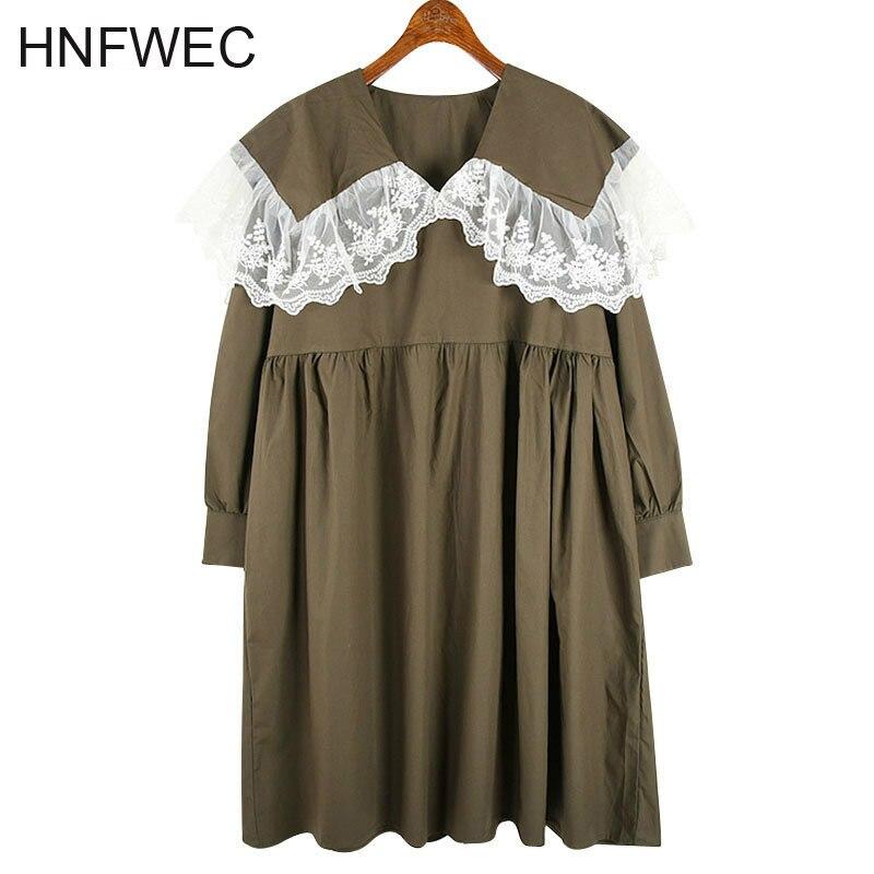 Estilo japonês rendas vestido de gola de boneca feminino solto plus size manga longa estilo universitário adorável roupas femininas 2020 v905