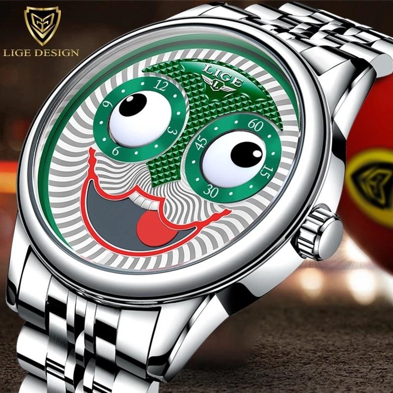 Creative Design Big Dial Joker Mechanical watches Wrist Watches Stainless Stell  Waterproof Sports Chronograph Relogio Masculino