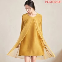 pleated welt flower hot drilling spring and autumn dress female miyake stitching mesh split a line dress oversized one piece