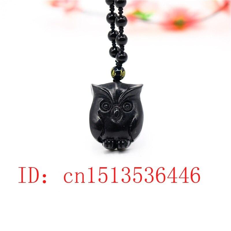 COLLAR COLGANTE de búho para Obsidiana Natural, joyería exquisita para hombre, accesorios de moda, amuleto de la suerte tallado a mano, regalos, cadena de suéter