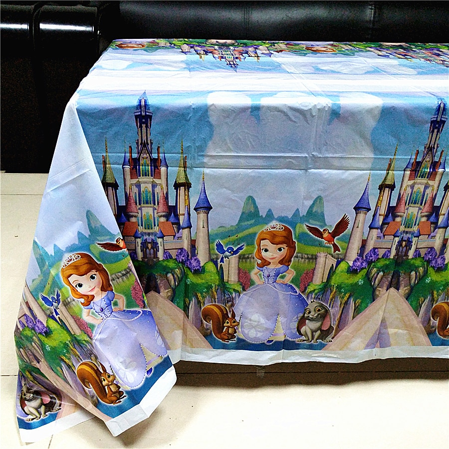 Sofia Princess Disposable Tablecloth Happy Birthday Party Supplies Festival Decoration Event Party Favor Gender Reveal Girl