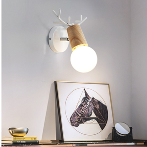 Nordic style solid wood LED wall lamp modern minimalist art bedside lamp wooden interior staircase rotating aisle lamp