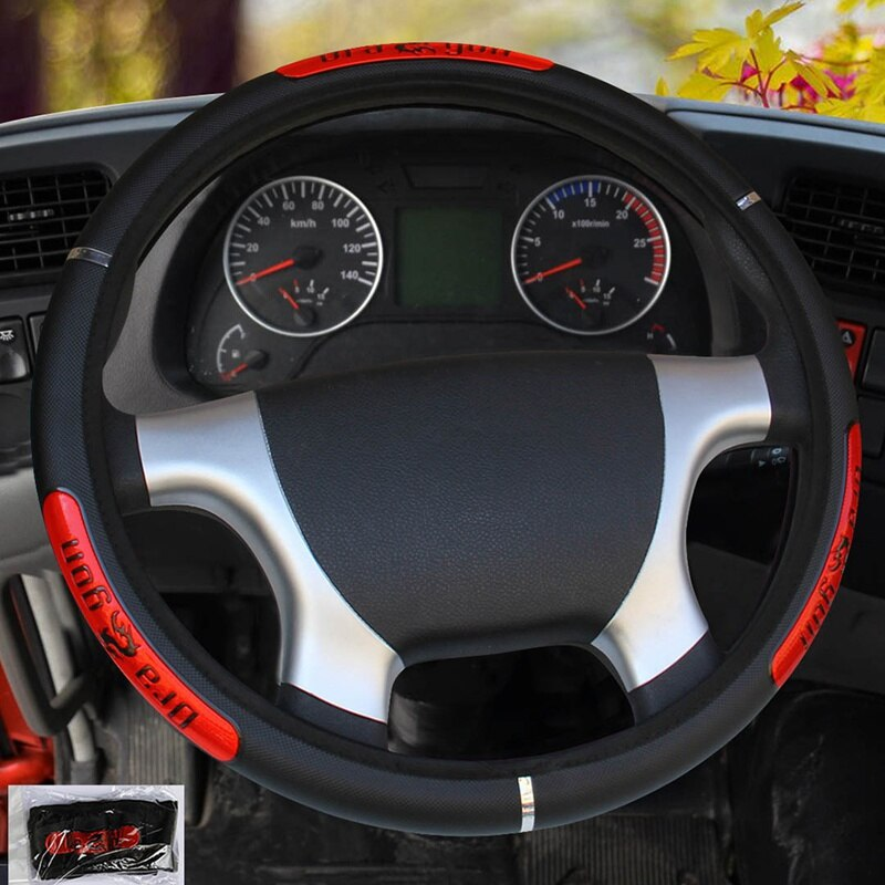 Car Steering Wheel Covers Reflective Faux Leather Elastic China Dragon Design Auto Steering Wheel Protector