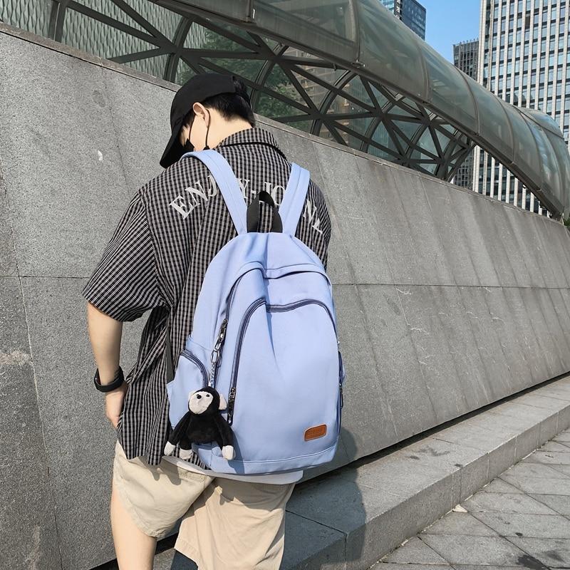 Fashion Women Backpack Cute Chimpanzee Nylon Travel Bookbag Female for College Girl Black Rucksack S