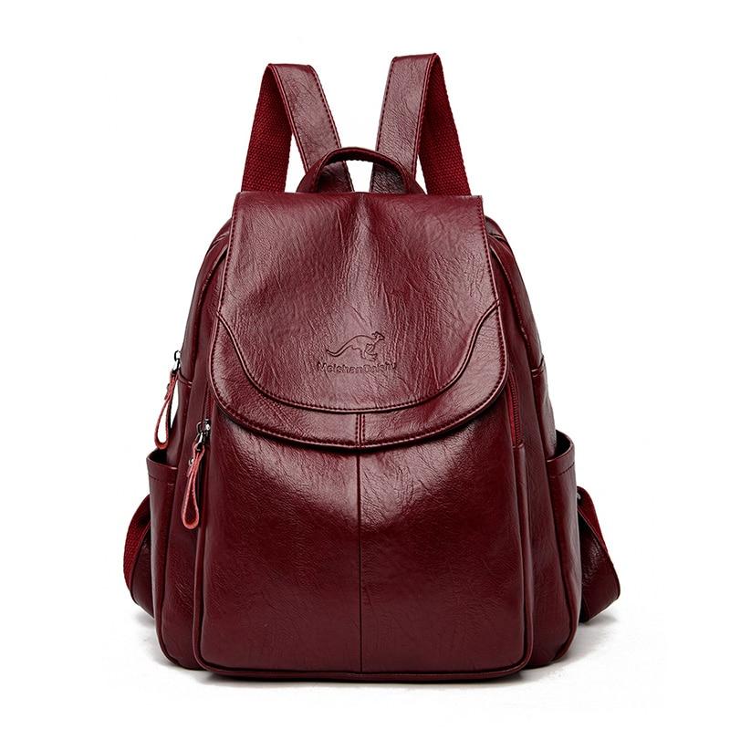 Hot Women Backpacks Designer High Quality Soft Leather Fashion Back Bag Brand Female Travel Bags Mochilas Mujer 2020 Backbags