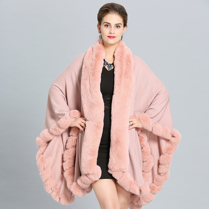 SWYIVY-معطف فرو نسائي ، فضفاض ، كشمير تقليد ، شال ، كارديجان ، كيب ، معطف دافئ ، كيب أسود