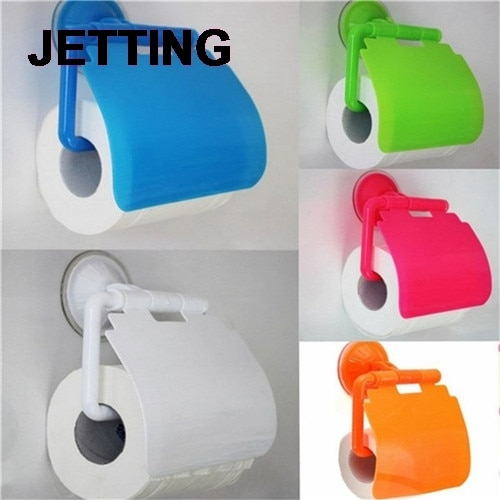 1PCS Neue Mode Papier Halter Rollen Papier Tissue Box Sauger Wc Papier Badezimmer Wand Montiert Farbe Zufällig