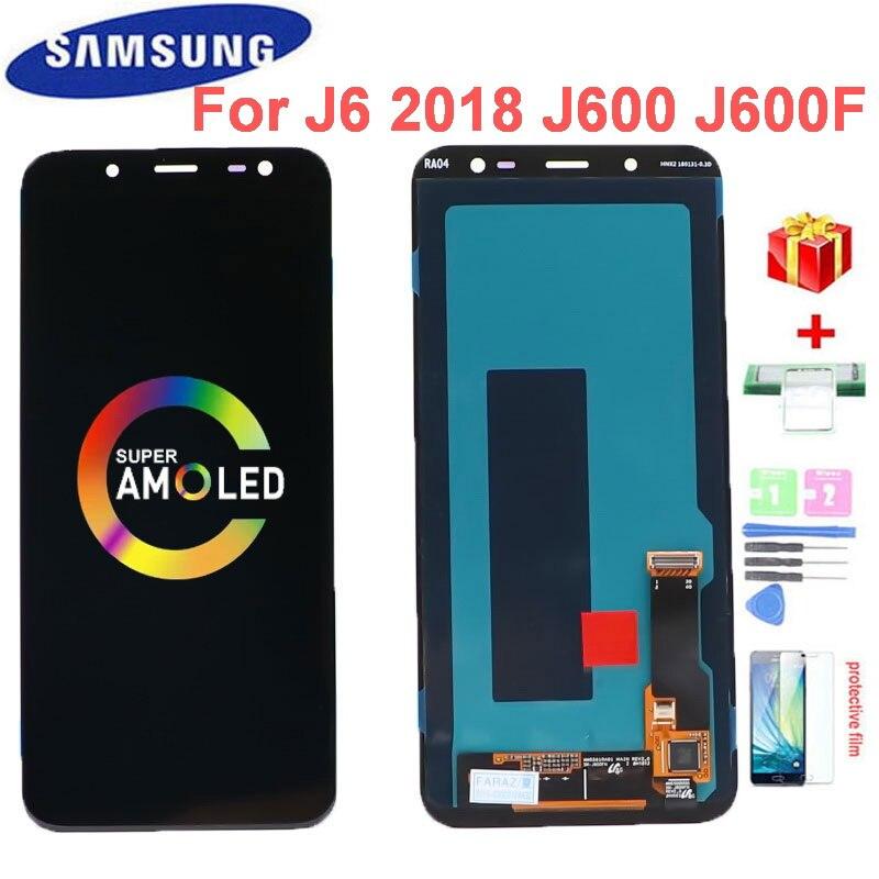 الأصلي 5.6 'Super AMOLED J600 LCD لسامسونج غالاكسي J6 2018 J600F SM-J600F J600G J600FN/D العرض مع شاشة تعمل باللمس الجمعية
