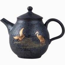 Ceramic Retro Silver Glaze Teapot Trumpet Drawing Gold Bubble Single Pot Home Chinese Style Kungfu Black Tea Jin Jun mei Teaware