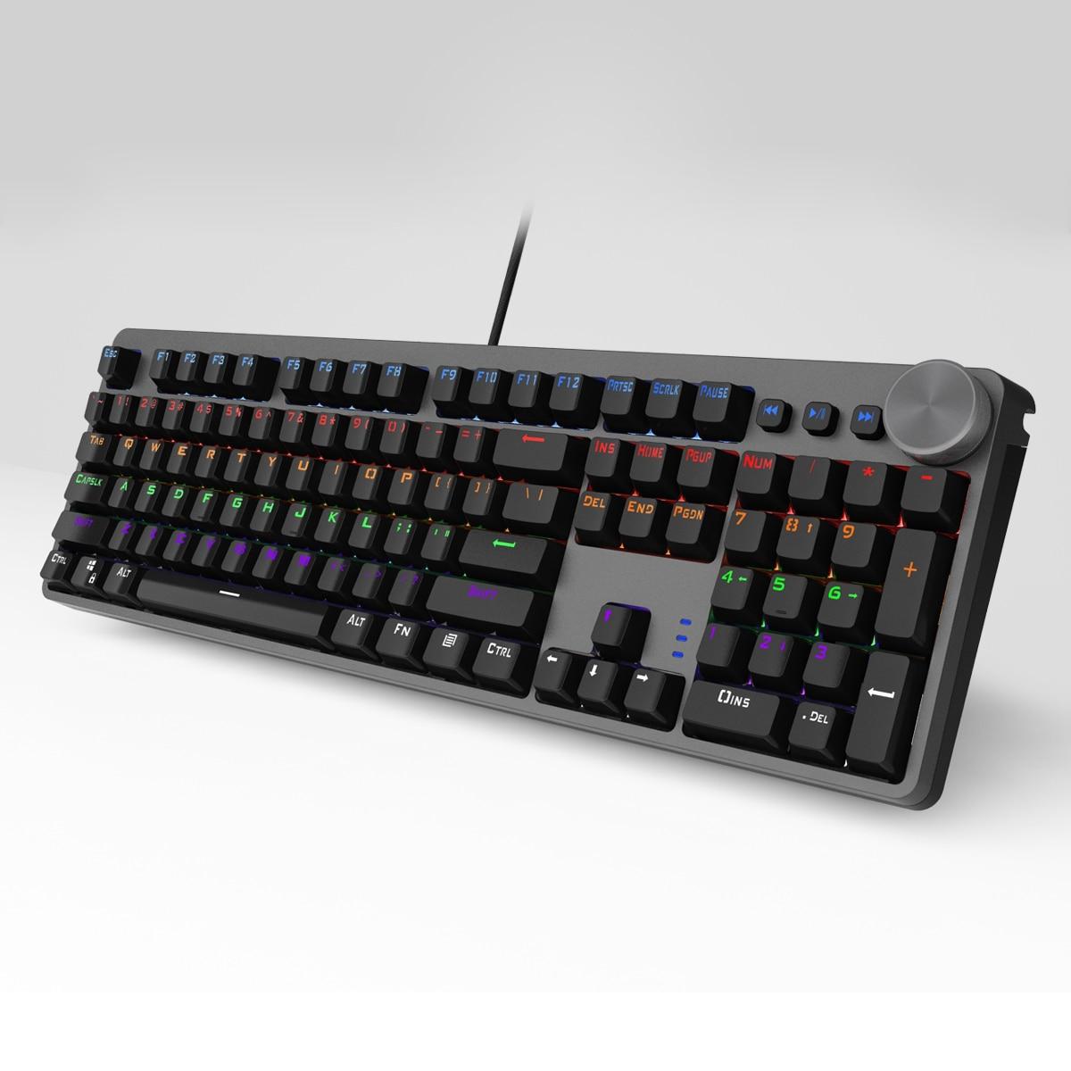 Игровая механическая клавиатура с синими 104 клавишами светодиодный Ной подсветкой