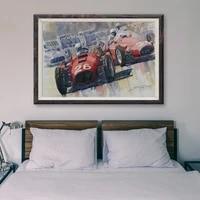 Peinture classique de voitures de course retro T021  19 affiches personnalisees en soie  Art mural de decoration pour la maison  cadeau de noel