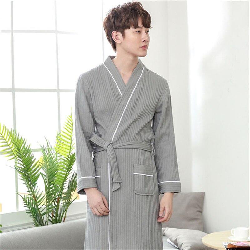 Camisón tipo kimono para hombre, albornoz de algodón, para hotel, transpirable, otoño...