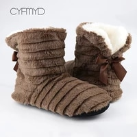 winter slippers women fur slippers indoor butterfly knot plush warm home slippers woman cozy non slip house floor shoes 2020
