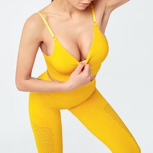 Women  Seamless Yoga Set Fitness Clothing High Waist Gym Leggings and Padded Push Up Sports Bra Running Sportswear Track Suit