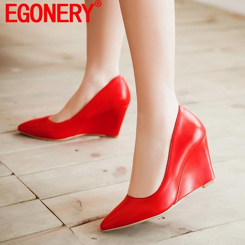 EGONERY أنيقة مضخات مكتب أشار تو أسافين امرأة الربيع الصيف منصة عالية الكعب بولي PU النساء أحذية الزفاف حجم كبير 33-43CN