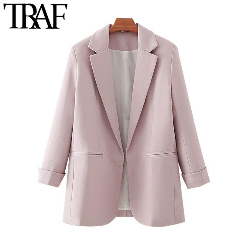 ملابس مكتب عصرية للنساء من TRAF بلازير معطف عتيق بأكمام طويلة وجيوب للنساء ملابس خارجية أنيقة