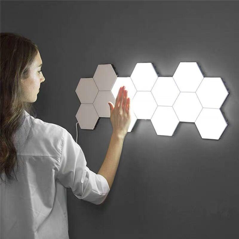 Moderna lámpara de pared LED para niños, lámpara de nido de abeja, montaje Modular, Helios, muro táctil, luces para el hogar, Quantum magnético, pared artística, Saconces