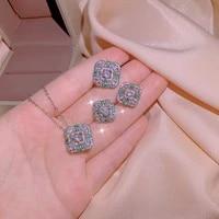 2021 new three piece set female necklace ring earring geometric shape inlaid green zircon jewelry wedding set