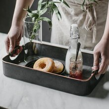 KINGLANG Rechteckige Eisen Tabletts Antike Retro Metall Lagerung Kleinigkeiten Fach Frühstück Brot Tee Serviert Platte Dekorative
