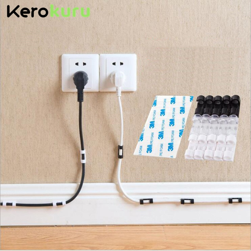 Cable Organizer Clips Cable Management Desktop & Workstation ABS Wire Manager Cord Holder USB Charging Data Line Bobbin Winder