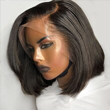 Straight Black Short Bob Synthetic Lace Front Wigs with Side Part for Women Glueless Heat Fiber Hair Realistic Daily Wear Wig