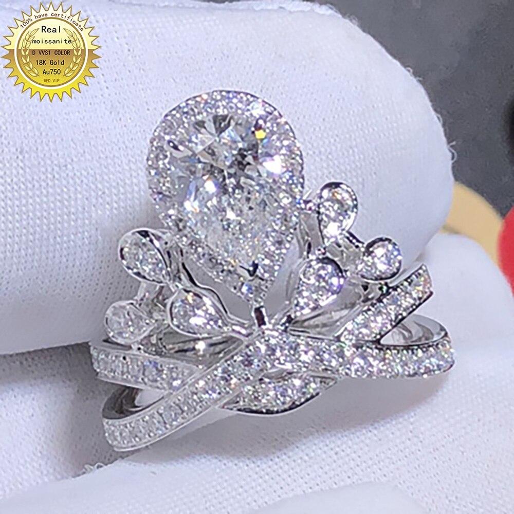 18K Au750 الذهب الأبيض المرأة خاتم الخطوبة لحفلات الزفاف 1 قيراط الكمثرى مويسانيتي خاتم الماس الكلاسيكية العصرية الأنيقة