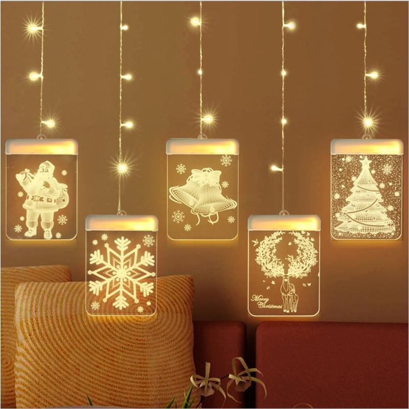 1.5M LED christmas snowflake curtain lights fairy curtain string lights USB Santa Claus wreath lamp new year wedding decoration enlarge