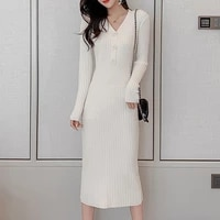 ljsxls 2020 autumn winter vintage pullover knitted dresses women slim v neck sweater dress thick long sleeve womens clothing