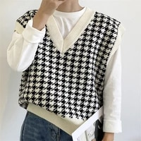 2021 houndstooth loose knitted vest sweater women v neck sleeveless thick vintage sweaters female casual waistcoat chic tops new