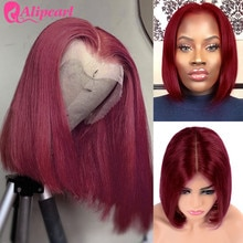 13x4 pelucas cortas de Bob 99J pelucas de pelo humano de encaje recto Pre desplumado pelucas de Bob brasileño para mujeres negras pelo alipearl