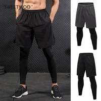men sports shorts 2 in 1 training running tight pants for workout gym riding shorts legging elastic jogging tights sweetwoo