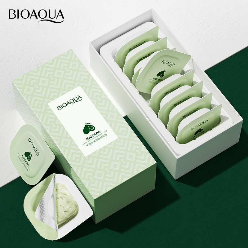 8PCS/set Avocado Extract Clearing Mud Cream Mask Moisturizing Oil-Control Acne Relief Smear Mask Box