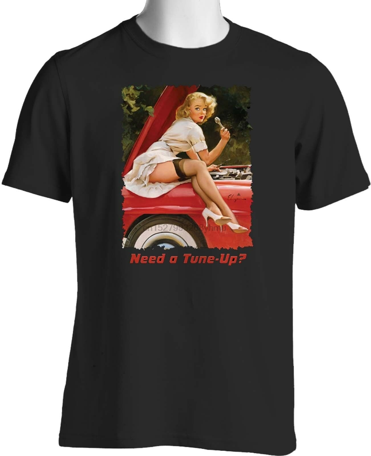 Retro Pin Up chica Hot Rod T camisa Thunderbird pequeño para 6XL (1)