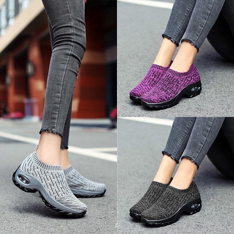 Women Sneakers Fashion Breathable Mesh Casual Shoes Platform Sneakers Platform  woman vulcanize shoes Walking  zapatillas mujer
