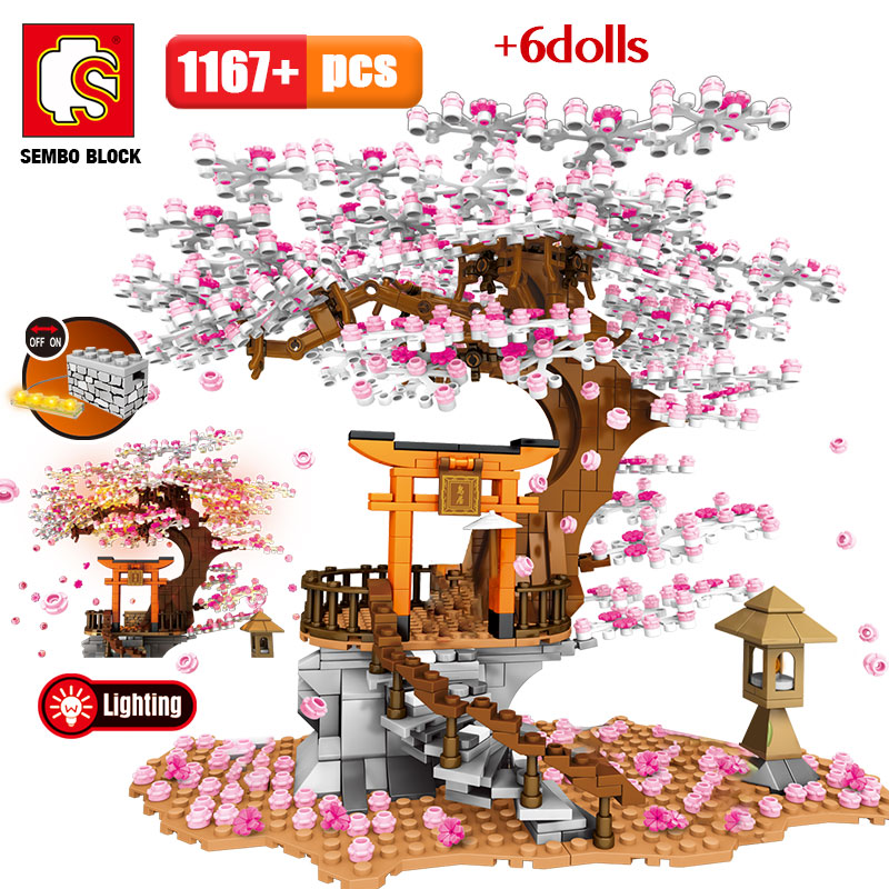 aliexpress.com - SEMBO City Street View Idea Sakura Inari Shrine Bricks Friends Cherry Blossom Diy Creator House Tree Building Blocks Toys