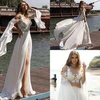 bohemian lace chiffon wedding dresses scoop backless appliques slit bridal gowns vestido de novia boho abito da sposa trouwjurk