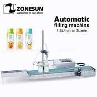 zonesun automatic single head liquid filling machine with conveyor perfume oil bottle water filling machine juice milk filler