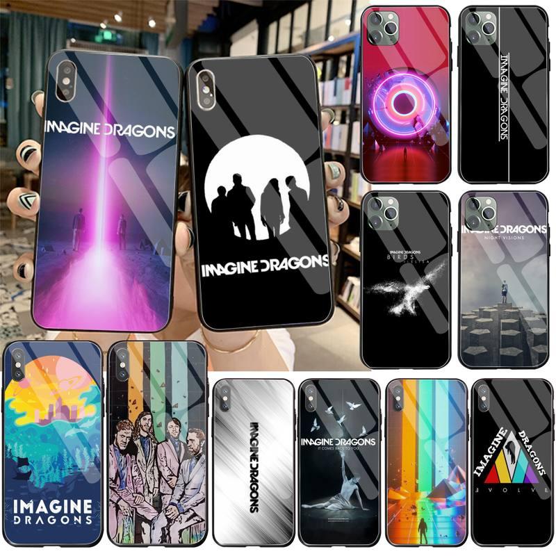 Yjzfdyrm imagine dragões noite música telefone capa de vidro temperado para iphone 11 pro xr xs max 8x7 6s 6 plus se 2020 caso