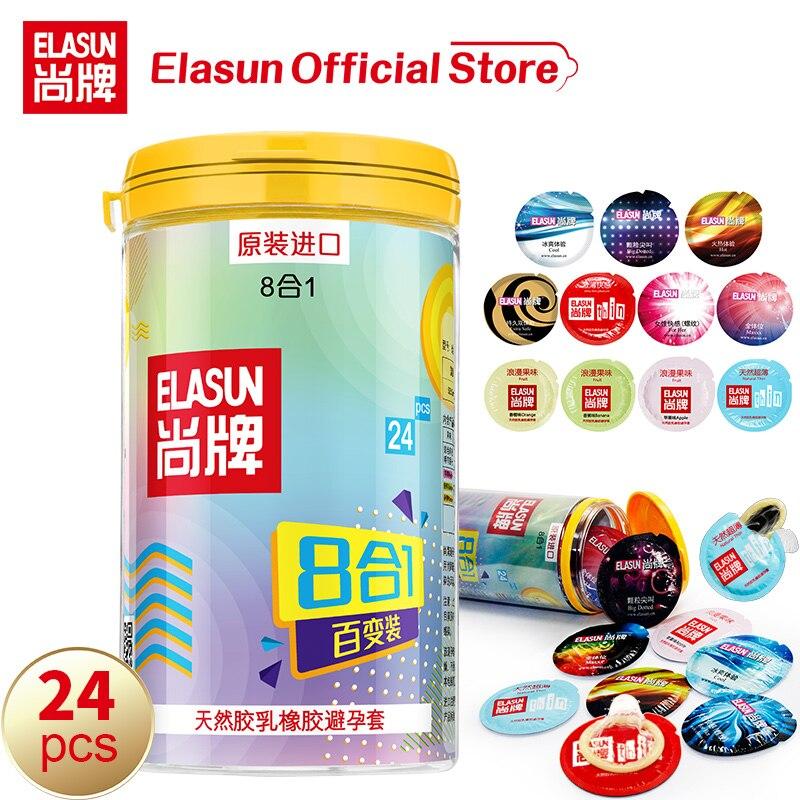 Презервативы elasun, 24 шт., 8 видов, натуральный латекс, ультра тонкий, лед и огонь, в горошек, двойной презерватив со смазкой, секс-игрушки для мужчин