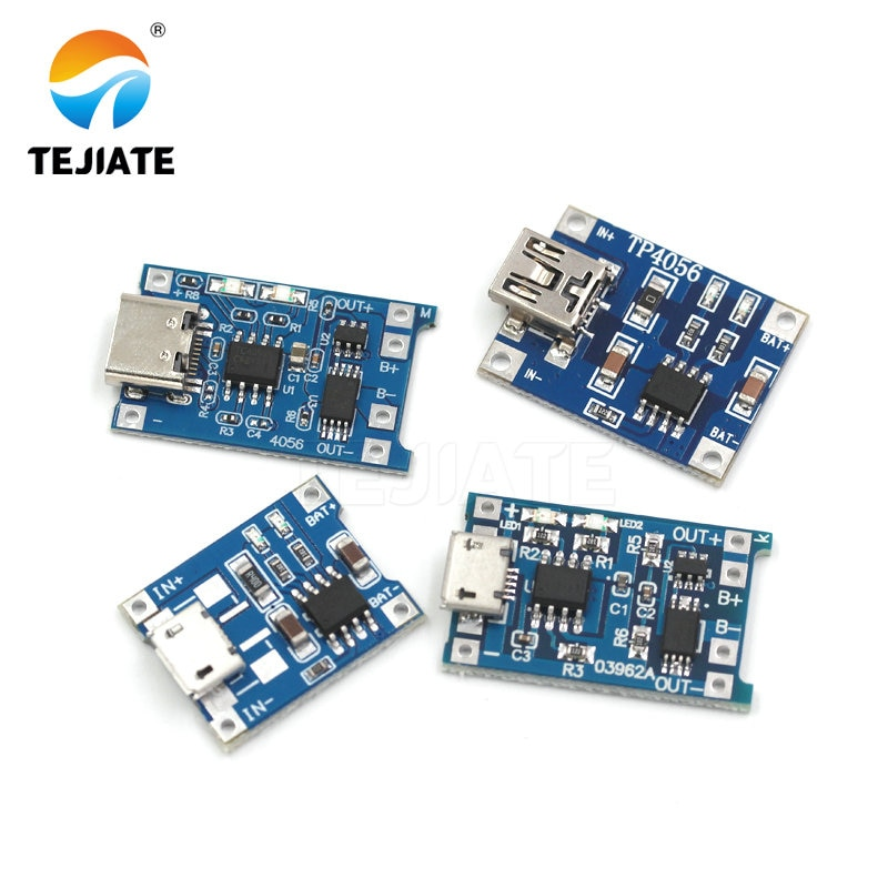 10Pcs MINI Micro USB 5V 1A 18650 TP4056 Lithium Battery Charger Module Charging Board With Protection Dual Functions Li-ion