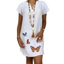 Vicabo Loose Butterfly Plus Size Woman Dress Summer Vestido Ladies Femme Robe Vestidos Cotton and Linen De Mujer 2020 Dresses