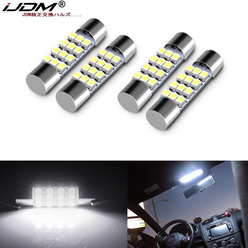 (4) xenón blanco 12-SMD 578, 579, 572, 211-2 212-2 214-2 bombillas LED de repuesto para coche Interior mapa carga de cúpula zona luces 12V