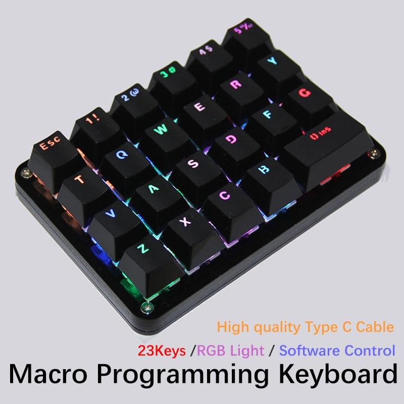 Gateron الكرز التبديل 23 مفتاح الماكرو لوحة المفاتيح البرمجة الميكانيكية لوحة المفاتيح RGB الخلفية للبرمجة الألعاب المحمول ماك ويندوز
