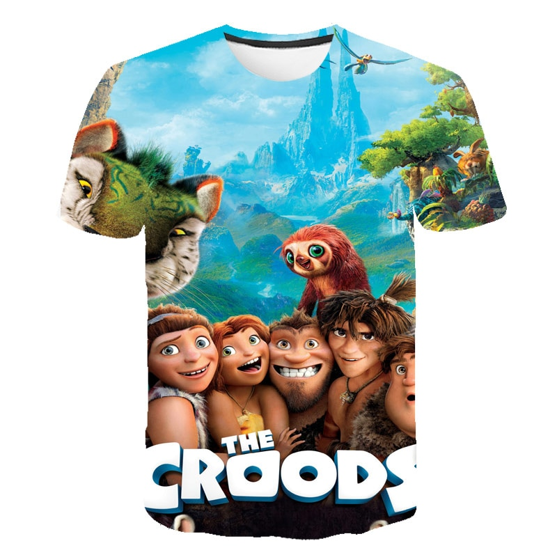 2021 Hot Sale Boys 3D The Croods T shirts Lovely Tops Cartoon T Shirt For Kids Girls Clothes Summer Chirldren's Clothing 4-14T